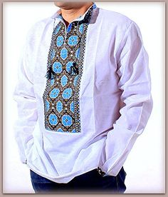 """NEW HANDMADE EMBROIDERED UKRAINIAN MEN'S LINEN/FLAX PEASANT SHIRT – Vishivanka pattern """"VOLOSHKA"""" (from Babushka) LINEN 100% Size XL Item location – Ukraine Delivery to U.S. and Canada – 3 weeks, to Europe – 10-14 days Measurements: Chest – 120 cm... see more details at https://bestselleroutlets.com/arts-crafts-sewing/needlework/product-review-for-vyshyvanka-man-ukrainian-embroidery-handmade-linen-white-shirt-traditional-size-xl-fa"""