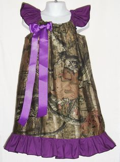 Camo & Purple Ruffled Dress / Mossy Oak Camo Dress / Gorgeous / Beautiful / Camo Dress / Baby / Girl / Infant / Toddler / Boutique Clothing on Etsy, $35.00