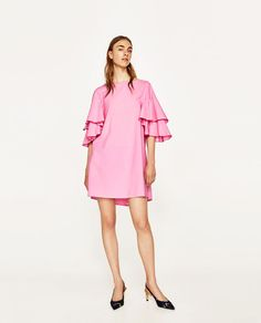 39.90 USD - ZARA - WOMAN - FRILLED-SLEEVE DRESS