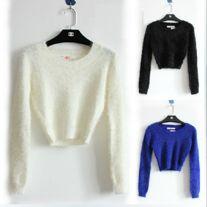 Fashion high waist mohair sweater three colors S: Shoulder 36  Bust 76-88  Sleeve 56  Length 41   M: Shoulder 37  Bust 80-94  Sleeve 57  Length 42