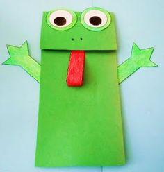 einfache heimwerkerprojekte Askarteluidea paperipussista/ Pesach: Frog Paper Bag Puppet Crafts Project from - Paper Diy - Paper Bag Crafts, Diy Paper, Preschool Projects, Craft Projects, Craft Ideas, Frog Puppet, Frog Activities, Paper Bag Puppets, Frog Crafts