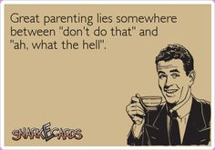 "Lol. This is probably true. ""Great parenting lies somewhere between 'don't do that' and 'ah, what the hell.'"""