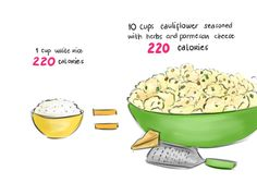1 Cup Of White Rice Or Lots Of Cauliflower With Herbs And Parmesan Cheese!...mm. Cauliflower.
