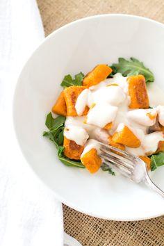 ... GLUTEN-FREE} Sweet Potato Gnocchi with Creamy Garlic Cauliflower Sauce