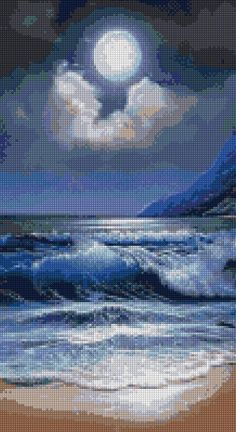 Ocean Moonlight Landscape Cross stitch pattern PDF – EASY chart with one color per sheet AND traditional chart! Two charts in one Ocean Moonlight Landscape Kreuzstichvorlage PDF EASY Cool Landscapes, Landscape Paintings, Cross Stitch Designs, Cross Stitch Patterns, Cross Stitch Landscape, Moon Moon, Moon Art, Am Meer, One Color