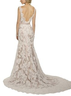 HoneeyGirl Modern Vintage Open Back Lace Wedding Dresses for Bride With Sash at Amazon Women's Clothing store: