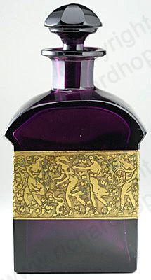 ANTIQUE GLASS: c.1910 MOSER KARLSBAD AMETHYST GLASS SCENT PERFUME BOTTLE WITH OROPLASTIC AMZONIAN FRIEZE. To visit my website click here: http://www.richardhoppe.co.uk or for help or information email us here: info@richardhoppe.co.uk