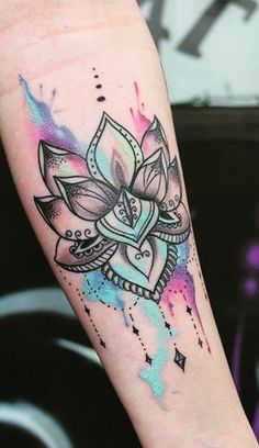 Watercolor Lotus Mandala Forearm Arm Sleeve Tattoo Ideas for Women - www.MyBodiArt.com