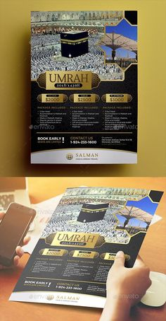 This can be used to promote your hajj or umrah travel. This template is very easy to use File Features : PSD Designs Size In) In Bleed area CMYK / 300 dpi Smart Object Image Customizable Text PSD file Flower texture is include Business Flyer Templates, Flyer Design Templates, Brochure Template, Travel Brochure, Brochure Design, Business Cards Layout, Flyer Layout, Sale Flyer, Corporate Flyer