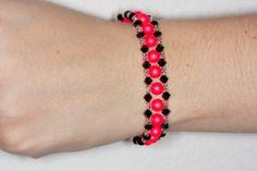 Swarovski neon red pearl bracelet by AGoodBead on Etsy, $15.00