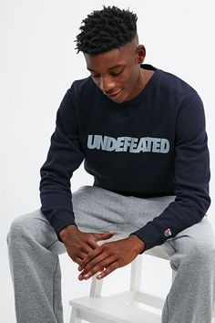 Undefeated Logo Sweatshirt in Navy - Urban Outfitters
