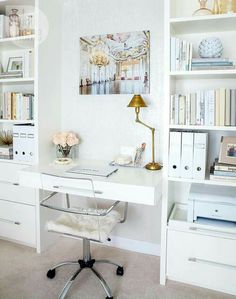 pure white home office