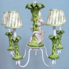 Monkey and Palm Tree Chandelier. A Touch of Designer Style Just In Time For Spring!
