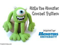 Crochet Mike Wazowski from Monster University./Monsters Inc. Free downloadable pattern. Nicely made.