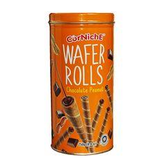 Вафельные трубочки Corniche с начинкой со вкусом шоколада и арахиса (Wafer Rolls Chocolate Peanut).В хрустящей вафельной трубочке... Chocolate Peanuts, Rolls, Canning, Home Canning, Wraps, Bread Rolls, Conservation