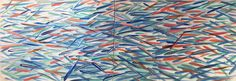 Díptico de Sardinas naranjas. Acrílico sobre lienzo. 200 x 73. Disponible, elena@hados.es