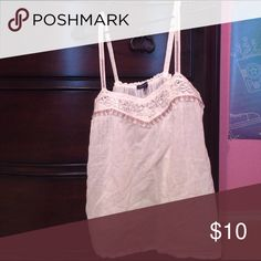 American Eagle White Camisole Size S, non-adjustable straps, metallic and lace embroidery, never worn American Eagle Outfitters Tops Camisoles