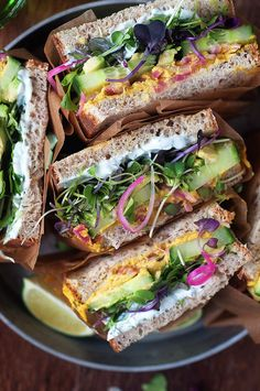 Money saving meals 462604192977581958 - Curry Hummus Detox Sandwiches – Little Kitchen. Big World Curry Hummus Detox Sandwiches with herbed Greek yogurt, avocado, cucumber, sprouts and pickled red onions Source by MaisonEGN Lunch Recipes, Whole Food Recipes, Vegan Recipes, Dinner Recipes, Cooking Recipes, Yogurt Recipes, Vegetarian Recipes With Herbs, Greek Recipes, Vegetarian Sandwich Recipes