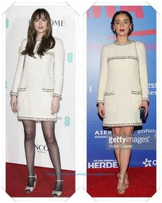 Un vestido de tweed de Chanel se lo vimos primero Dakota Johnson en la fiesta Lancome BAFTA; y después se lo vimos a Ilse Salas en la premiere de Que pena tu vida.