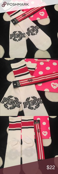"""VS PINK Crew Socks & VS PINK Headband  Victoria's Secret PINK Crew Socks new without tags and VS PINK Headband new in package.  See pictures as you will receive both items together as I want to sell these together..  No trades or holds.  All offers via make """"offer"""" button only please (reasonable offers).  Thanks for looking and Happy Poshing! :) PINK Victoria's Secret Accessories Hosiery & Socks"""