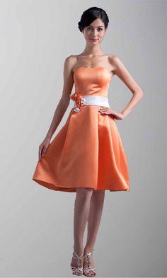 Orange Cute Short Belt Bridesmaid Dresses KSP215