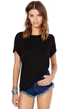 Nasty Gal Back To Basics Tee   Shop Tops at Nasty Gal   A safe t-shirt for days when you cannot decide what to wear.