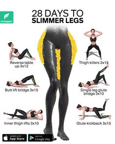 28 DAYS TO SLIMMER LEGS - Training for strong and slimmer legs doesn't mean you'll only need to lift heavier weights at th - Fitness Workouts, Gym Workout Videos, Gym Workout For Beginners, Fitness Routines, Fitness Workout For Women, Fitness Motivation, Workout Plans, Leg Workout Women, Fitness Legs