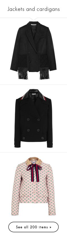 """Jackets and cardigans"" by flirtydzines ❤ liked on Polyvore featuring outerwear, jackets, black, shiny jacket, fringe jackets, double breasted jacket, wool-blend jacket, edun, miu miu and coats"
