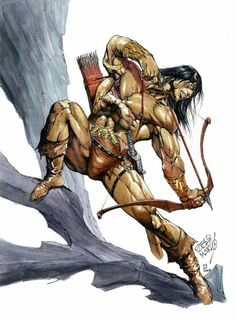 m Barbarian Longbow Sword Hills Cliff Wilderness Conan by Pablo Marcos 2009 Comic Book Artists, Comic Book Characters, Comic Character, Comic Books Art, Fantasy Characters, Comic Art, Conan Comics, Marvel Comics, Warrior King