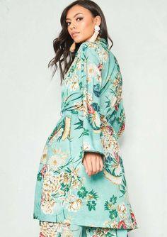 215bdb3878af25 Missyempire - Diana Green Floral Longline Kimono Jacket Kimono Jacket, Long  A Line, Cami