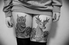 owl tattoo idea on thigh