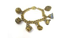 Chinese Export Charm Bracelet Blue Enamel Gold Charms Etched