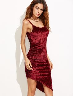 Online shopping for Burgundy Ruched Asymmetric Velvet Cami Dress from a great selection of women's fashion clothing & more at MakeMeChic.COM.