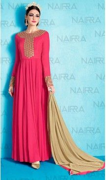 Pakistani Style Deep Pink Color Georgette Churidar Dresses | FH461071949