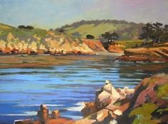 """Daily Paintworks - """"Point Lobos, Whalers Cove California, coastal, plein air, oil painting by Robin Weiss"""" - Original Fine Art for Sale - © Robin Weiss"""