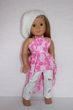 18 inch doll clothes, high low pink floral dress/shirt, white ripped skinny pants, beret style slouch hat, belt , Upbeat Petites, by UpbeatPetites on Etsy