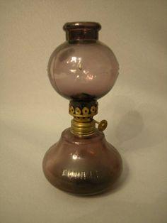 "Antique Miniature Oil Lamp, ""Twinkle"" lamp in amethyst, Acorn burner ..."