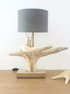 lampe bois flotté-souche-abat-jour rond- fête des pères-cadeau-modèle unique #LampBois