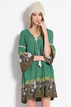 Border Print Baby Doll Dress - Green Tea | Knitted Belle Boutique