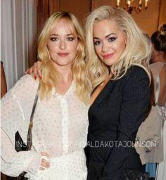 Fifty Shades of Grey cast Dakota Johnson & Rita Ora London 2014 Stella McCartney Green Carpet Collection