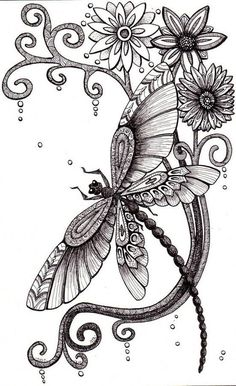 Flowers And Dragonfly Tattoo Design