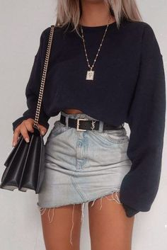57 Cool Back to School Outfits Ideas for the Flawless Look Denim Skirt Outfits . - 57 Cool Back to School Outfits Ideas for the Flawless Look Denim Skirt Outfits For School - Teenage Outfits, Teen Fashion Outfits, Mode Outfits, Look Fashion, Autumn Fashion, Korean Outfits, Fashion Belts, Teenage Clothing, Teenage Girls Fashion