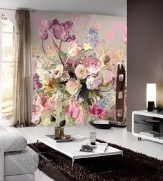 Wall is You I Colorful - wallpaper/fotobehang Room Color Combination, Modern Classic Interior, Retro Flowers, Wall Decor, Wall Art, Colorful Wallpaper, Room Colors, Painting, Home Decor