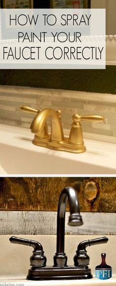 How to spray paint your Faucet Correctly - Painted Furniture Ideas - - It is easier than it looks, but does require some knowledge. Learn how to spray paint your faucet a face lift by repainting it the correct way! Bathroom Renovations, Home Renovation, Bathroom Ideas, Bathroom Makeovers, Bathroom Inspo, Bathroom Hacks, Bathroom Plans, Kitchen Remodeling, Colorful Furniture