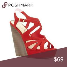 Sexy Red Jessica Simpson Wedges A sky-high stacked wedge and chunky covered platform add serious height to a strappy sandal. heel platform -Adjustable strap with buckle closureLeather upper/synthetic lining and sole Jessica Simpson Shoes Wedges Platform Wedges Shoes, Strappy Shoes, Shoes Heels Wedges, Wedge Heels, Shoes Sandals, Monk Strap Shoes, Strap Sandals, Jessica Simpson Sandals, Wrap Shoes