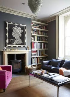 Gray living room ideas - how to get this shade right | Livingetc Dark Living Rooms, Mid Century Modern Living Room, Eclectic Living Room, Living Room Paint, Living Room Designs, Living Room Decor, Georgian Style Homes, Modern Georgian, Georgian Interiors