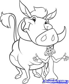 how to draw timon and pumbaa step 10 Cute Cartoon Drawings, Cool Art Drawings, Cartoon Sketches, Disney Drawings, Easy Drawings, Horse Coloring Pages, Disney Coloring Pages, Coloring Books, Lion King Animals
