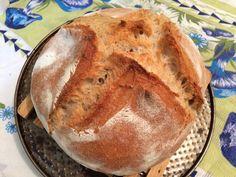 Pão assado no saco de assar, receita de misturas de farinha branca, integral e centeio