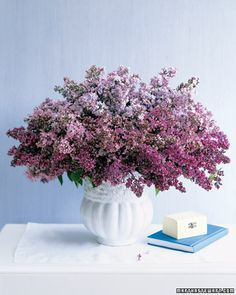 Lilac's subtle color variations are perfect for creating painterly, layered arrangements.  Gather blooms in two or more hues and group them by color gradation in a heavy vase. Retain some of the leaves on the shortest stems -- they'll form a bottom border of green.