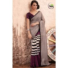 Lovely rusty grey black and white color printeed saree with blouse - Online Shopping for Designer Sarees by Saree Swarg